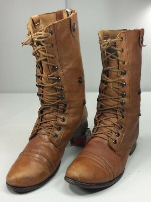 8870d08be41 STEVE MADDEN WOMEN S Mid Calf Leather Boots Tan Laces   Zip Size 9 ½ ...
