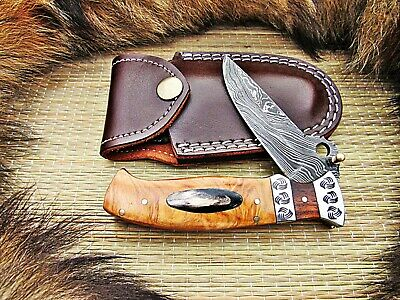 Custom Handmade Damascus Steel Folding Knife Linerlock With Leather Sheath 28T68