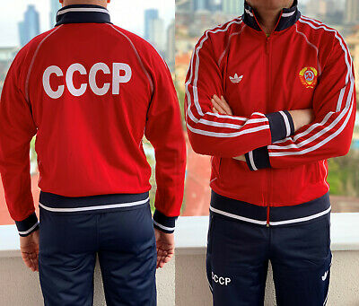 RED Adidas USSR CCCP vintage Soviet Union Russia track suit 80 olympics  uniform 7dbb1fc98