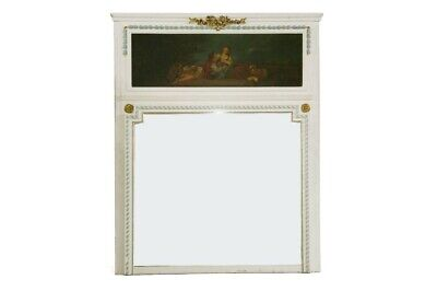 Large huge Antique Victorian Mirror Oil Canvas classical Painting over mantle