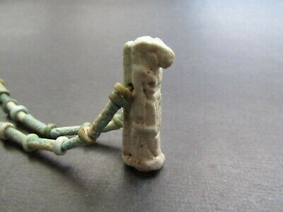 NILE  Ancient Egyptian Thoth Amulet Mummy Bead Necklace ca 600 BC
