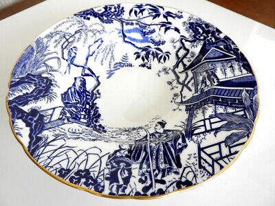 Royal Crown Derby BLUE MIKADO Rimmed Soup Bowl (S) - NICE!