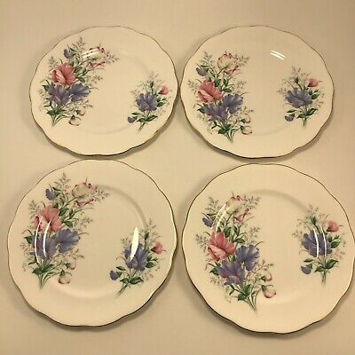 Royal Albert 'Sweet Pea' Friendship Series Lot 4x  Bread Butter Dessert Plates A