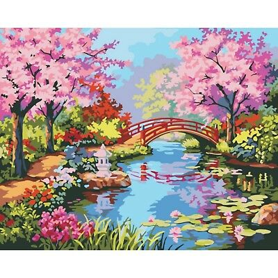"""BLOSSOM BRIDGE ABSTRACT PAINTING PAINT BY NUMBERS CANVAS KIT 20"""" x 16"""" FRAMELESS"""