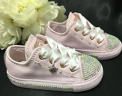 f81100ded928 BABY GIRLS PINK Leather Crystal Bling Converse Trainers Size 6 Eu 22 ...