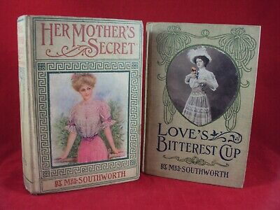 Rare Extremely Antique Vintage Lot of 2 Books by Mrs. Southworth  1910