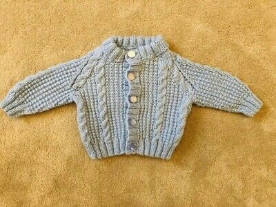 Baby Boys Pale Blue Spanish Style Handknitted Cardigan 0-3 Months