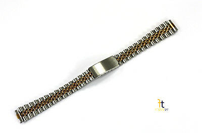 12mm Jubilee Stainless Steel Metal (Two Tone) Adjustable Watch Band Strap