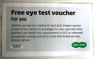 1 Specsavers Eye Test Voucher Coupon Valid to 30 April 2019 authentic genuine