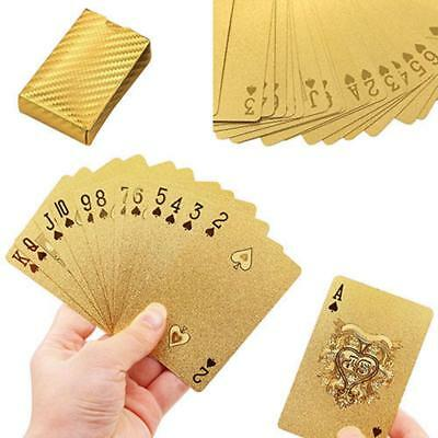 Plastic Playing Cards For Poker Game Gold Foil 24k Deck Plated Waterproof Magic