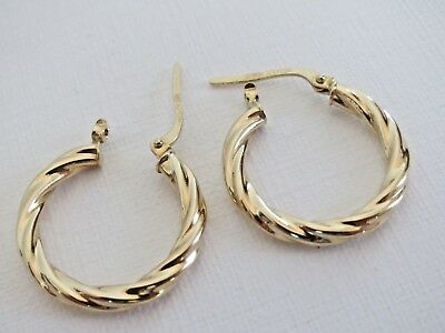 18K YELLOW GOLD TWISTED HOOP EARRING 750 STAMP 1 64g Excellent Condition  NICE!