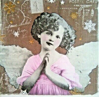 4x Decoupage Paper Napkins, Angel.Servilletas decoradas.Vintage, angel,decoupage