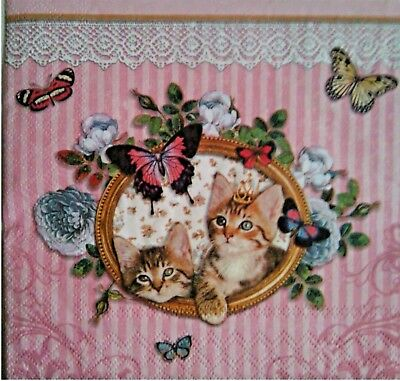 4 Single Table Paper Napkins for decoupage Cats.4 Servilletas decoupage gatos.