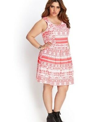 NEW! FOREVER 21 PLUS-SIZE NEON CORAL/PINK LINEN DRESS - $21.99 ...