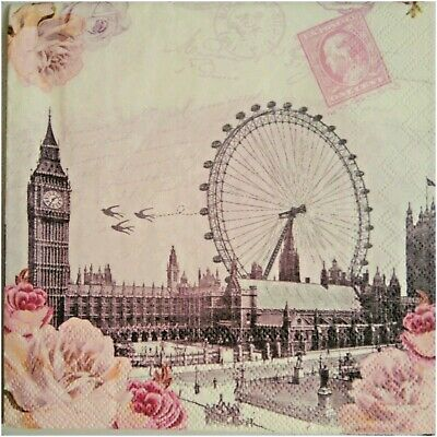 4 x SERVILLETAS DE PAPEL / DECOUPAGE CRAFT, LONDON VINTAGE BIG BEN NAPKINS
