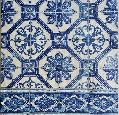4x Paper Napkins for Decoupage, blue tiles.Servilletas decoupage azulejos azul