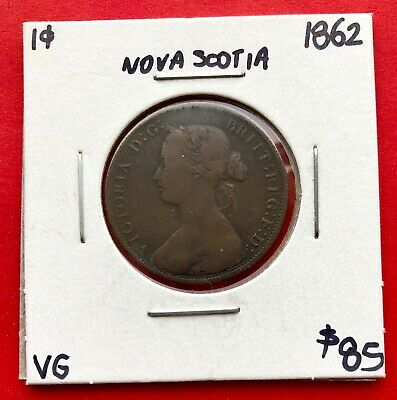 1862 Nova Scotia Canada Large One Cent Penny Coin - $85 VG