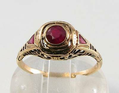 Dainty English 9K Gold Art Deco Ins Ruby Ring Free Resize