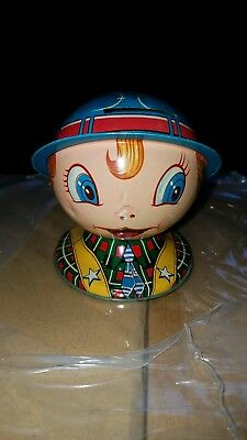 Little School Boy Tin Coin Bank Made In Japan Small Size Rare