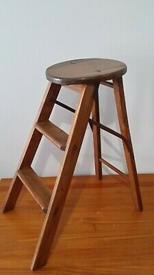 Vintage 1913 Hard Wood Folding Ladder Stool > Antique Old Plant Stand JRG
