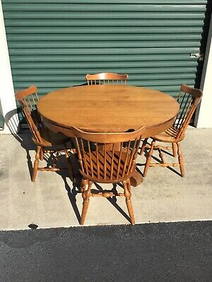 Vintage Oak Pedestal Dining Table with S. Brent & Bros Colonial Windsor Chairs