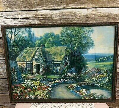 Vintage Framed English Tudor Cottage & Garden Print, Made In USA Print