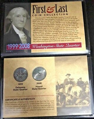 1999 & 2008 Delaware & Hawaii First & Last Washington State Quarter Collection