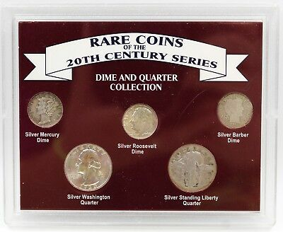 Rare Coins of the 20th Century Series Dime & Quarter Collection 5 Coin Set