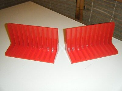 Bulk two Vintage red plastic cassette tape storage cases holds 20 tapes (10 each