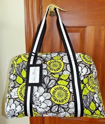 56dba6a3cf2f VERA BRADLEY Sport Duffel Bag with Yoga mat sleeve CITRON   Black  Microfiber ID