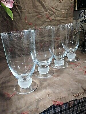 Vintage Crystal Wine Water Glasses Goblet Stemware Frosted Stem Ball Set of 4
