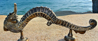 """aged large SEAHORSE solid brass door old look style heavy house PULL handle 14""""B"""