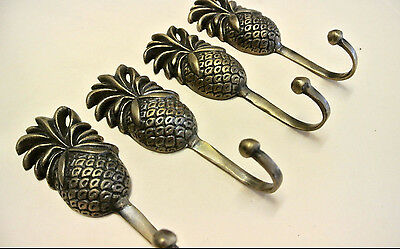 4 small PINEAPPLE BRASS HOOK COAT WALL MOUNT HANG TROPICAL VINTAGE style hook B