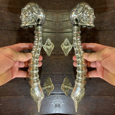 2 large SKULL head handle DOOR PULL spine SILVER BRASS old vintage style 33 cm B