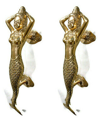 "2 polished medium MERMAID brass door PULL old style heavy PULL handle 13"" B"