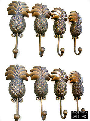 8 large PINEAPPLE COAT HOOKS solid age brass  vintage old style 19 cm hook B