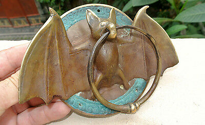 "Door Knocker BAT ring old heavy front SOLID BRASS vintage antique style 7"" B"