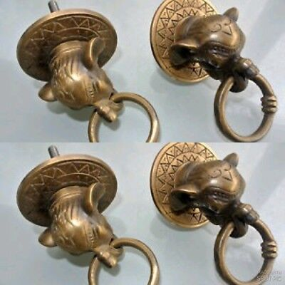 4 ELEPHANT pulls handles antique solid brass vintage drawer knobs ring 6 cm B
