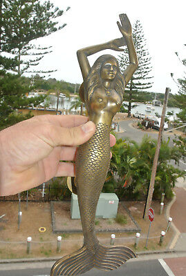 "large LEFT MERMAID solid brass door PULL old style heavy house handle 15"" aged B"