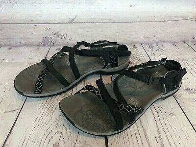 ac0b9dc5a43f Merrell Jacardia Womens Size 8   39 Black Leather Strappy Sport Sandals 22y
