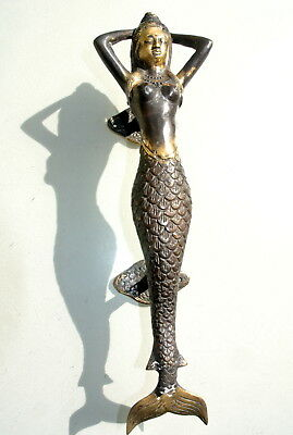 "medium MERMAID aged dark brass door PULL old style heavy house PULL handle 13"" B"