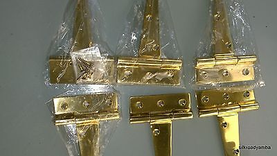 """6 POLISHED small hinges vintage aged style solid Brass DOOR BOX restoration 4"""""""