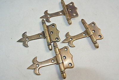 4 small hinges vintage aged style solid Brass DOOR Stuning restoration heavy 3""