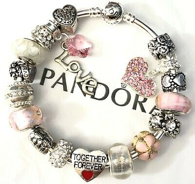 """Authentic Pandora Sterling Bracelet European Beads Charms """"I Love Wife"""" 7.5"""