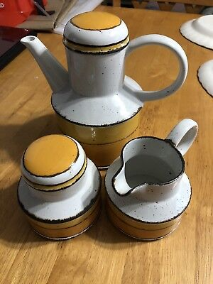 MIDWINTER WEDGWOOD Stonehenge SUN COFFEE POT CREAMER & SUGAR BOWL