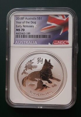 2018 Australia 1 oz 9999 Silver Year of the Dog - NGC MS 70 Early Releases !