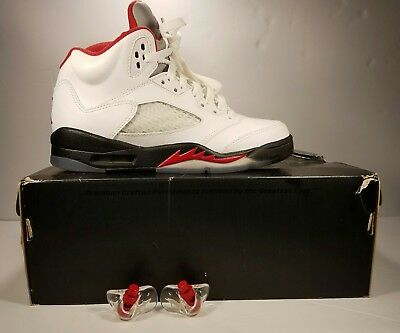 new arrival 2e122 b6f93 2012 Nike Shoes Air Jordan 5 Retro White Fire Red Black 5Y with Box Nice!