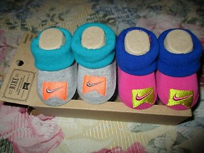 Nike 0-6 Months Baby Booties Infant Newborn Blue 2 Pair Boys Girls Gift NEW!!