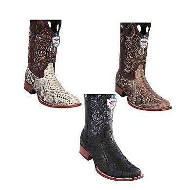 225bc7947fa Wild West Genuine PYTHON SNAKE Western Cowboy Boot Square Toe Handcrafted