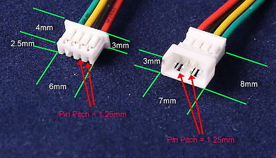 20 Pairs Micro JST 1.25 4 Pin Male and Female Connector plug with Wires Cables